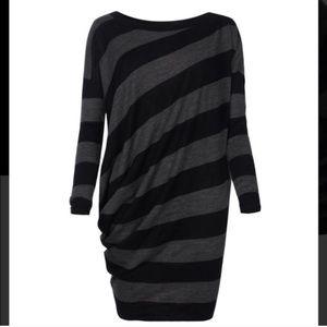 All Saints Dita Stripe Jumper Dress wool 6 blk/gry